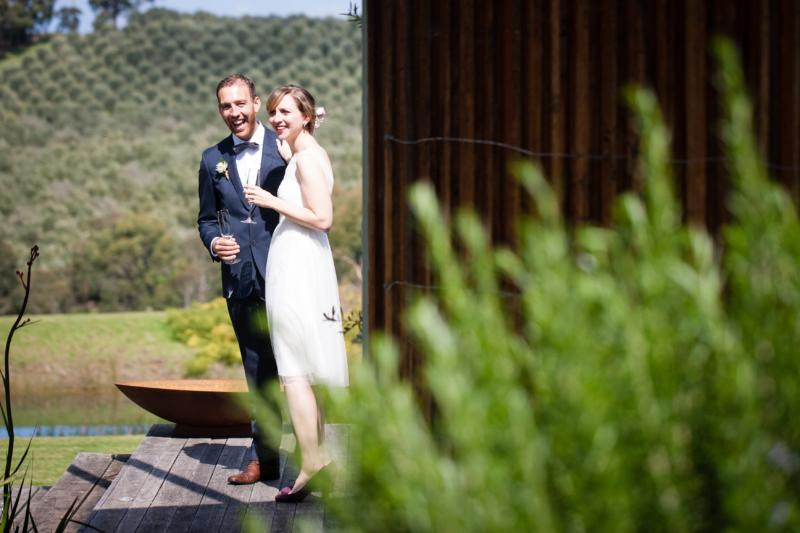 The author and her husband on their wedding day, before a very small ceremony on the Mornington Peninsula.